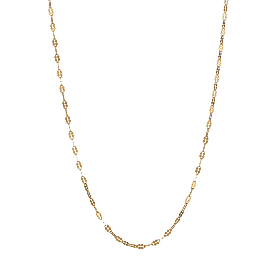 Petal Chain in gold, fashioned from simple oval links which have been hammered to make a beautiful feminine shape.