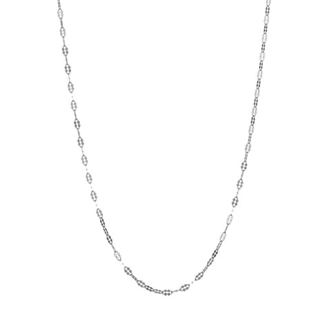 Petal Chain in silver, fashioned from simple oval links which have been hammered to make a beautiful feminine shape.