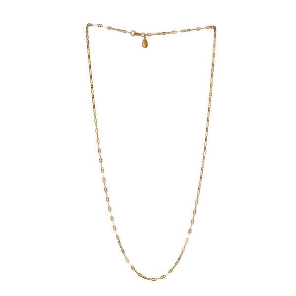 Petal Chain in gold, fashioned from simple oval links which have been hammered to make a beautiful feminine shape. Full view.