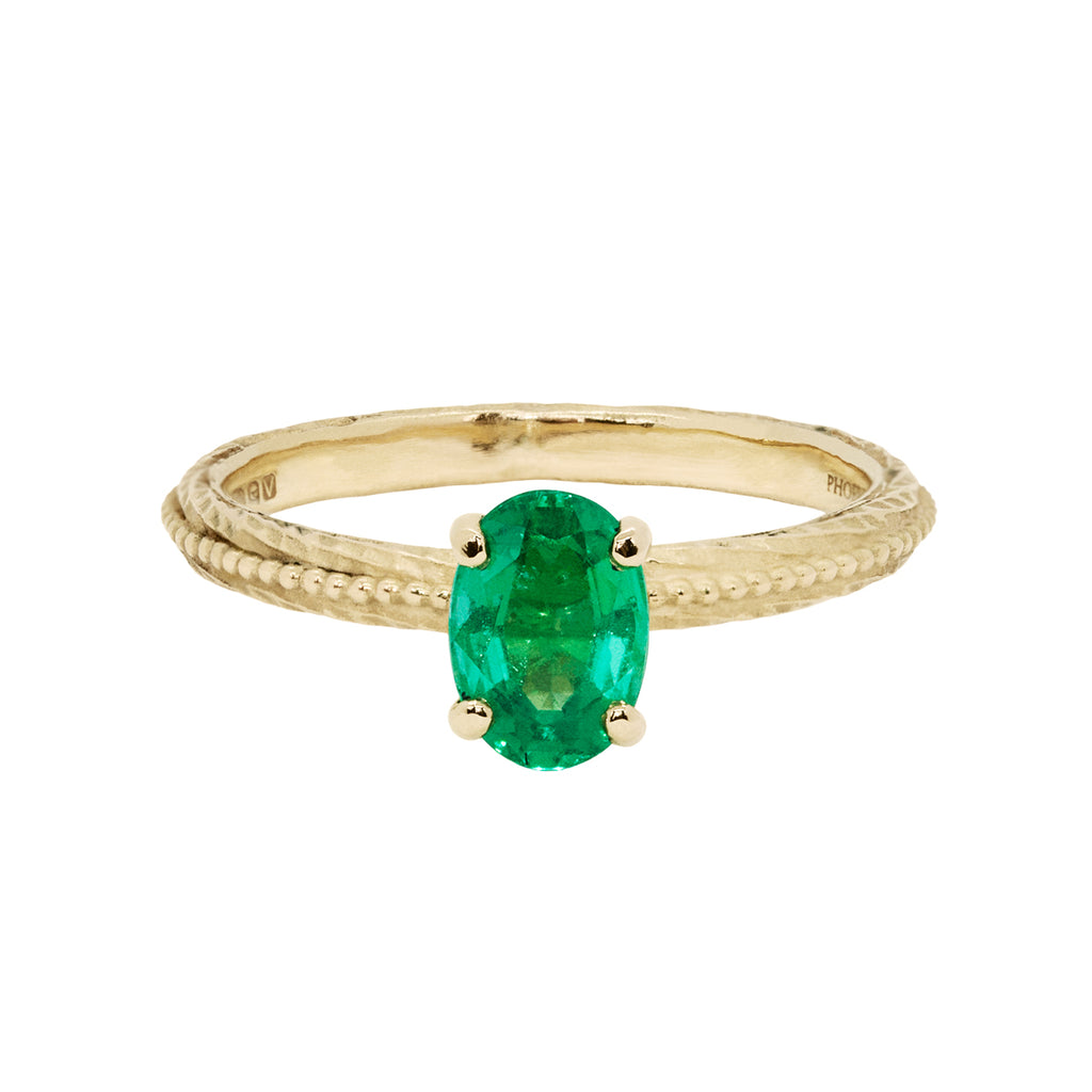 Tender Love Engagement Ring - Emerald
