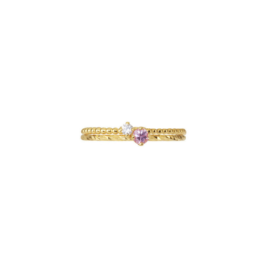 Pretty in Pink Sapphire and Lily White Diamond Stacking duo in gold.