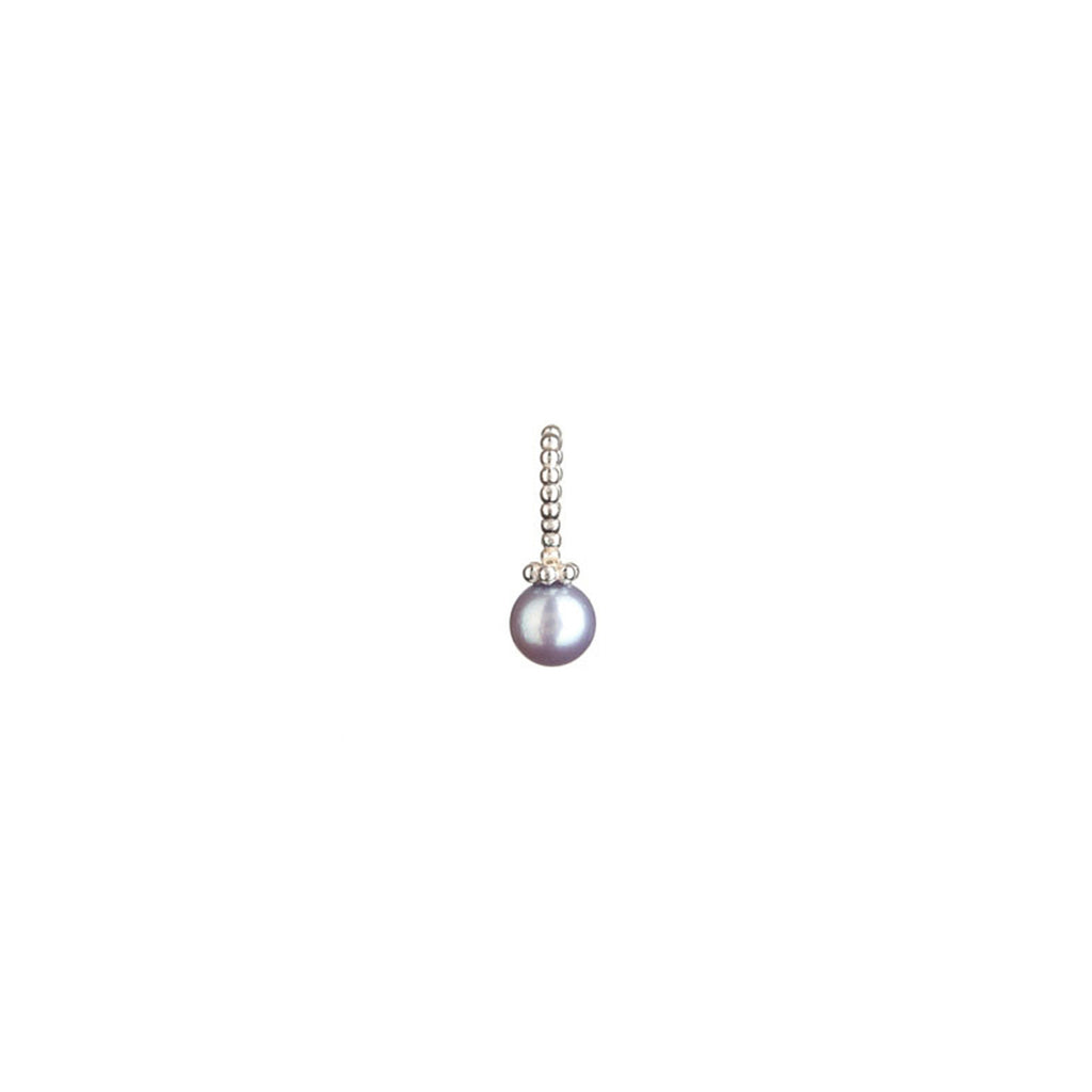 Pirate's Black pearl charm in silver, made from a medium size black pearl and beaded bail.