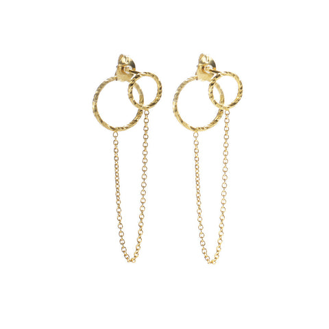 Protective Circle Front and Back earrings in gold, featuring large and small circles connected by delicate wire.