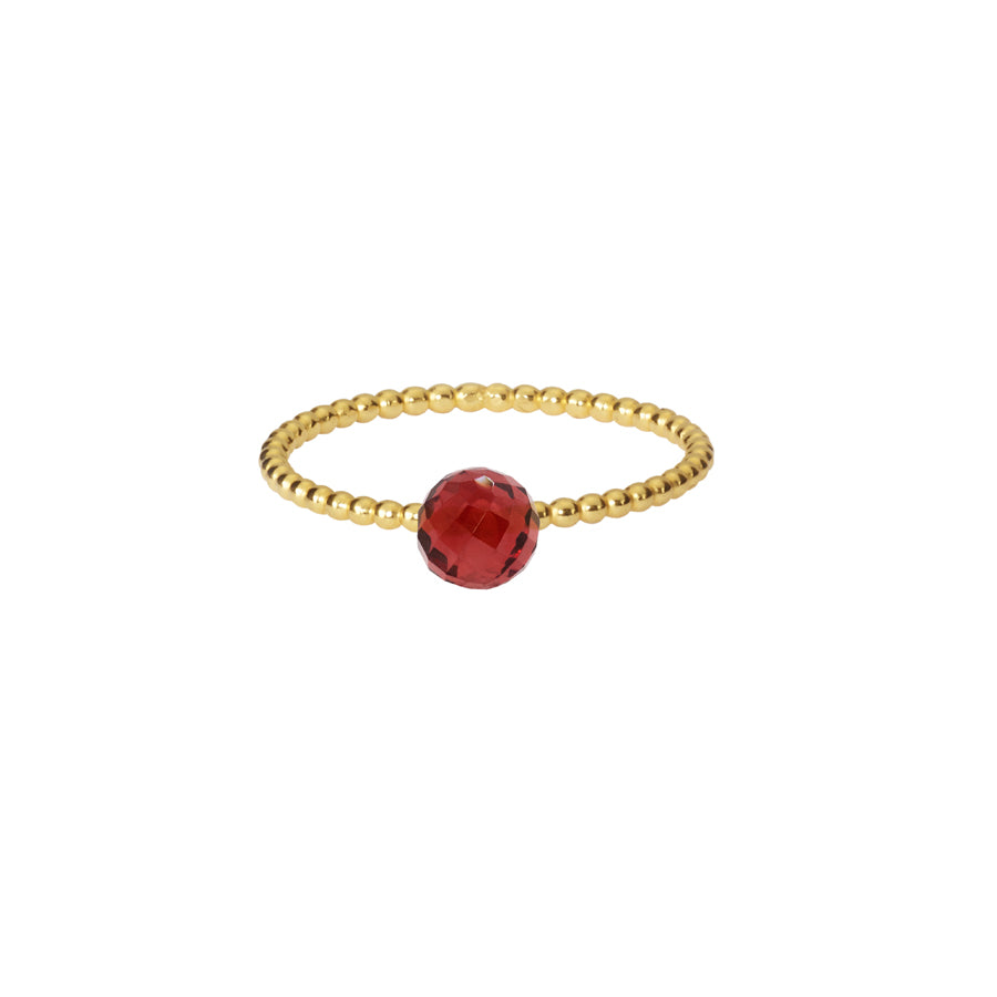 Red Garnet Stacking Ring - Gold