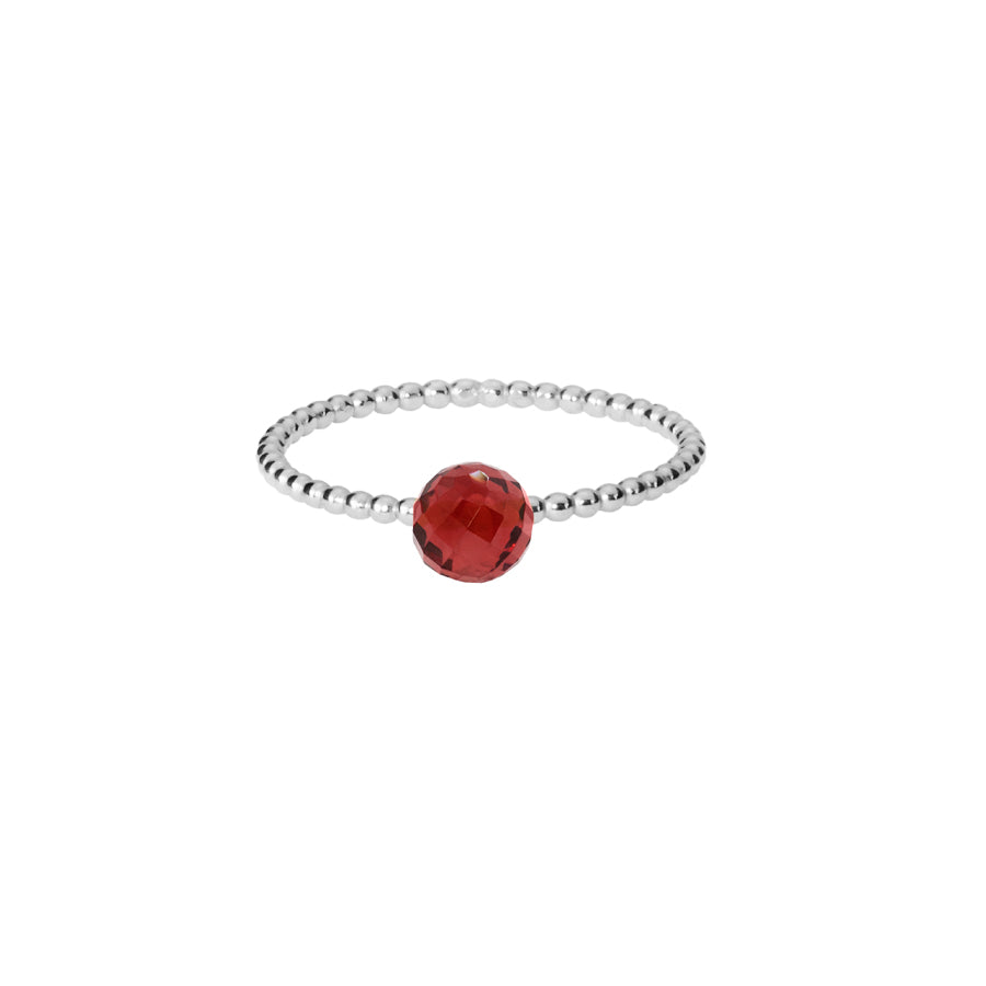 Red Garnet Stacking Ring - Silver