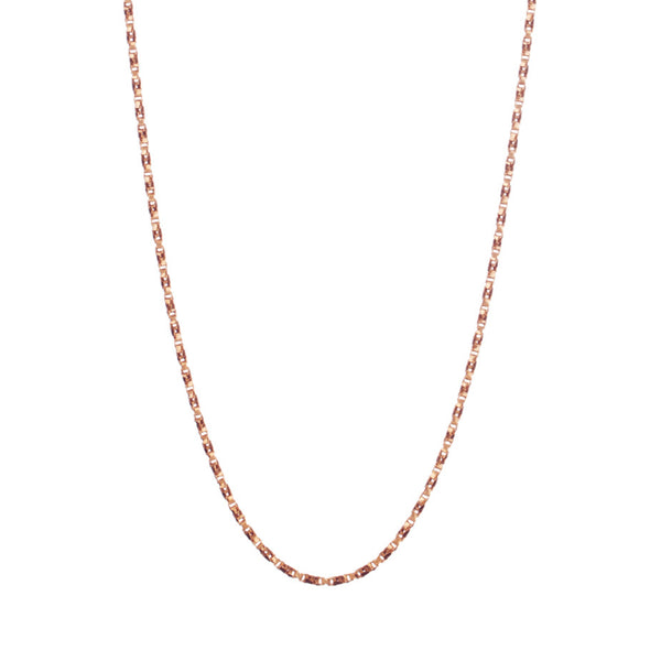 Regal Twist Chain in rose gold, made from twisted square links that give it a slinky feeling.