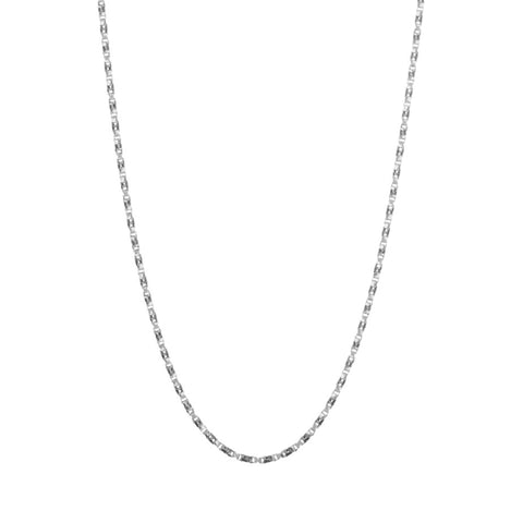 Regal Twist Chain in silver, made from twisted square links that give it a slinky feeling.