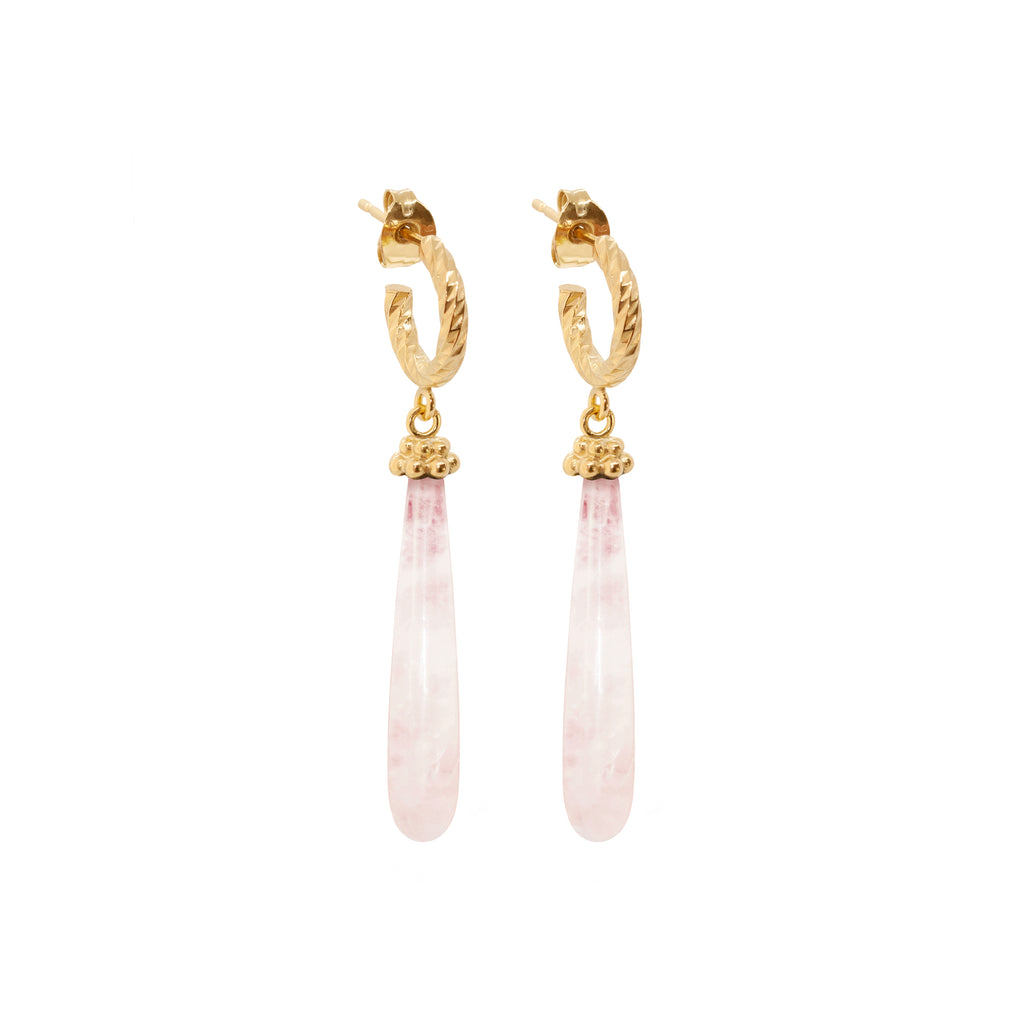 Drops of Love Rose Quartz Earrings - Gold