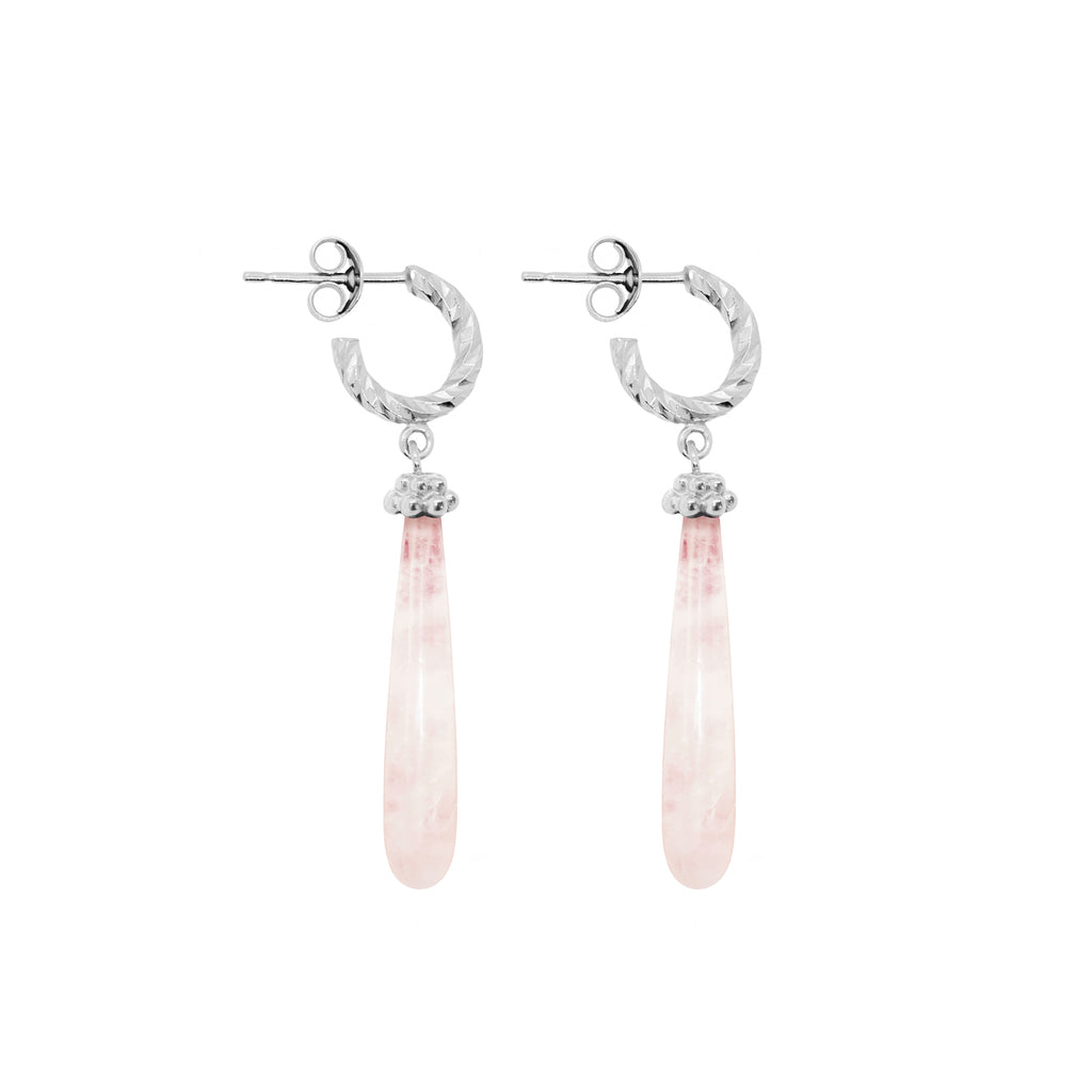 Drops of Love Rose Quartz Earrings - Silver