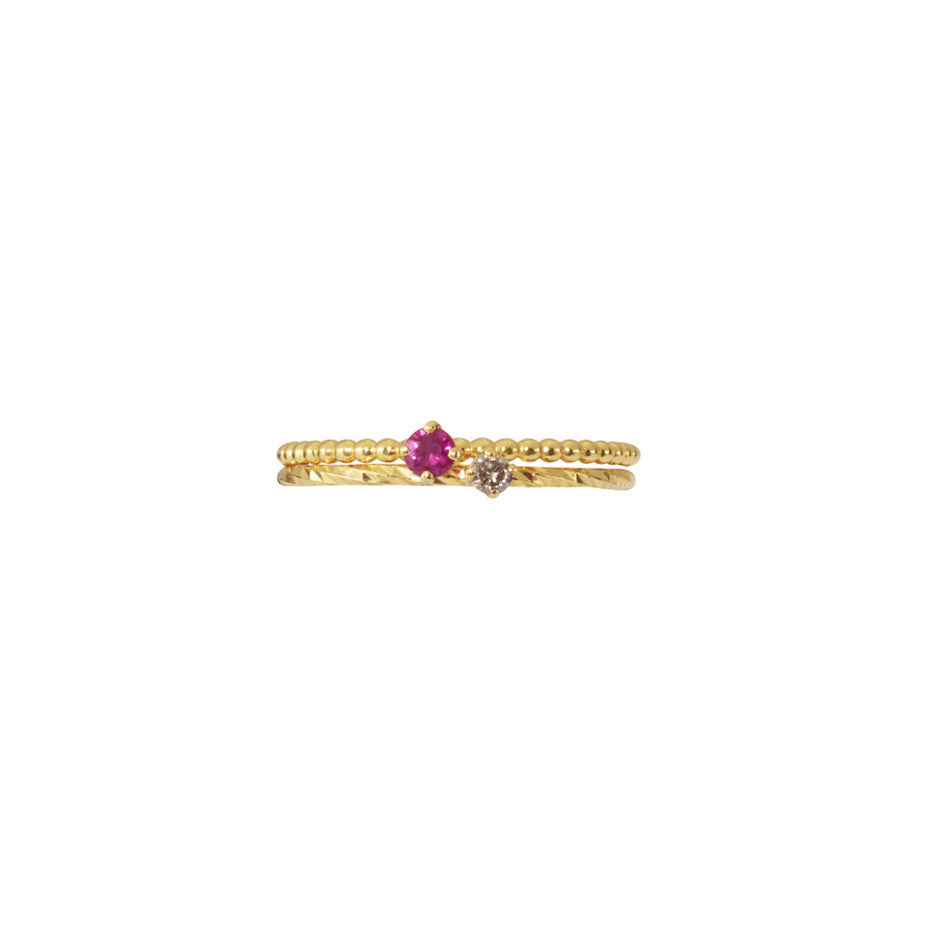 Ruby and Champagne Diamond Stacking duo in gold.