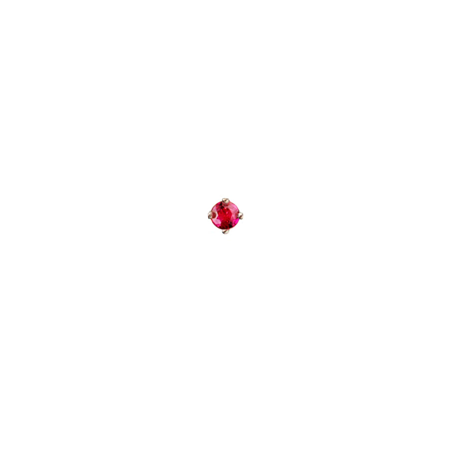 Rose Red Ruby Micro Stud Earring - 9ct gold