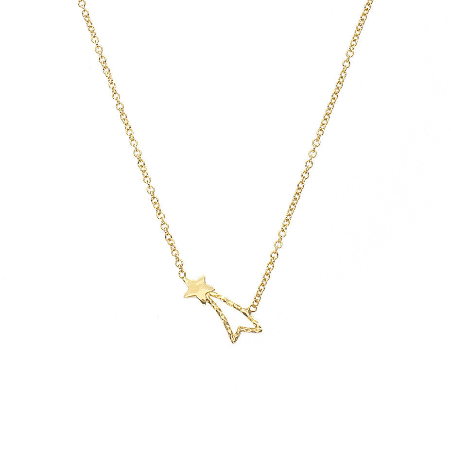 Shooting Star necklace in gold.