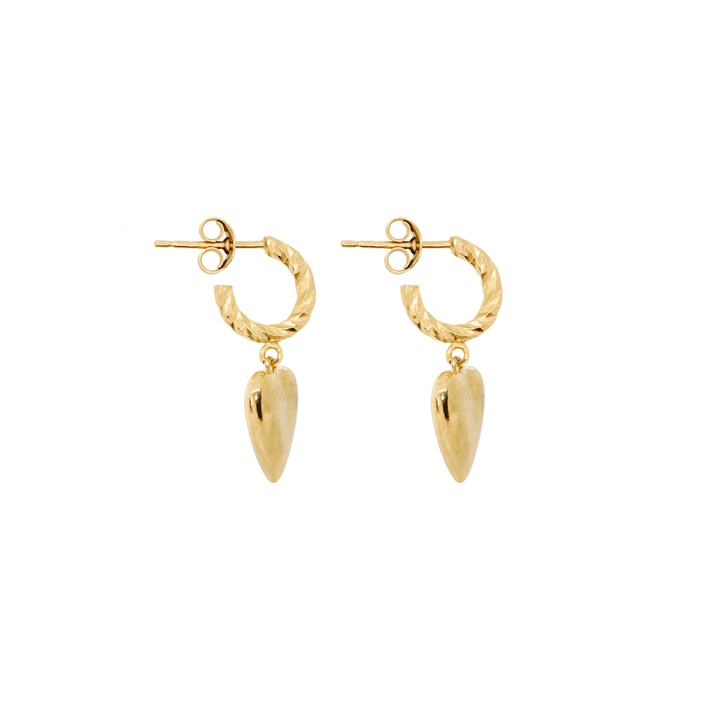Full Of Love Heart Earrings - Gold
