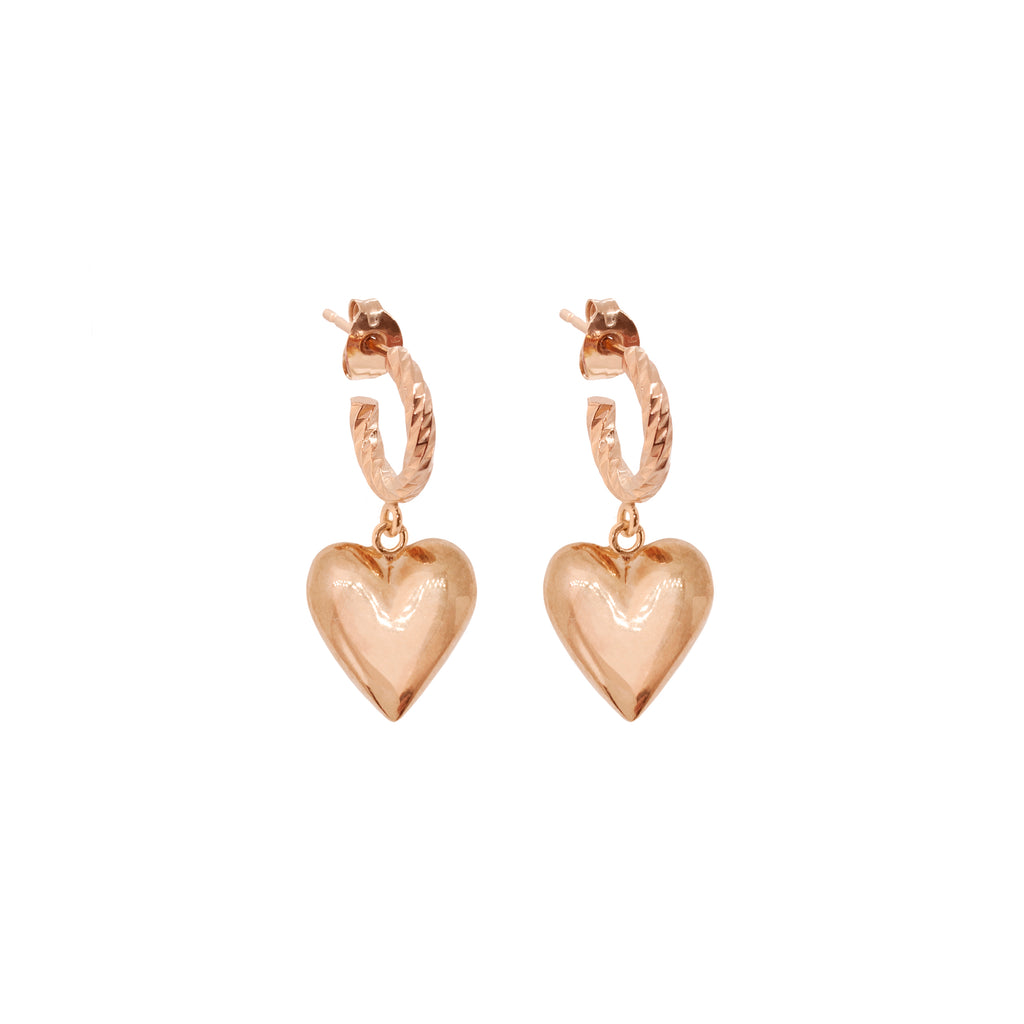 Full Of Love Heart Earrings - Rose Gold