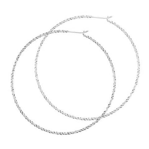 Sparkling Large Hoop Earrings - Silver