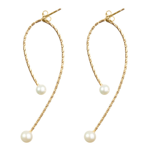 Sparkling wire swinging split hoop earrings in gold with Large and Medium Lunar White pearls.