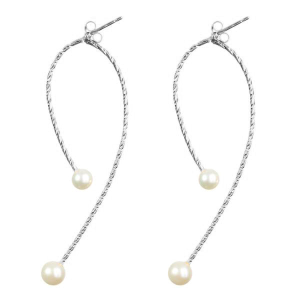 I'm In Your Orbit Split Hoop White Pearl Earrings - Silver