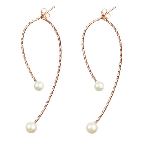 Sparkling wire swinging split hoop earrings with Large and Medium Lunar White pearls. Made from 18ct rose gold vermeil.