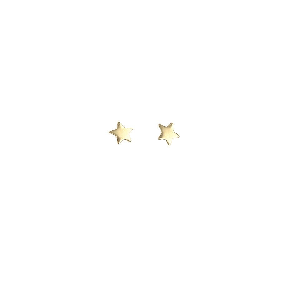 Single Star Bright Stud Earring - Gold