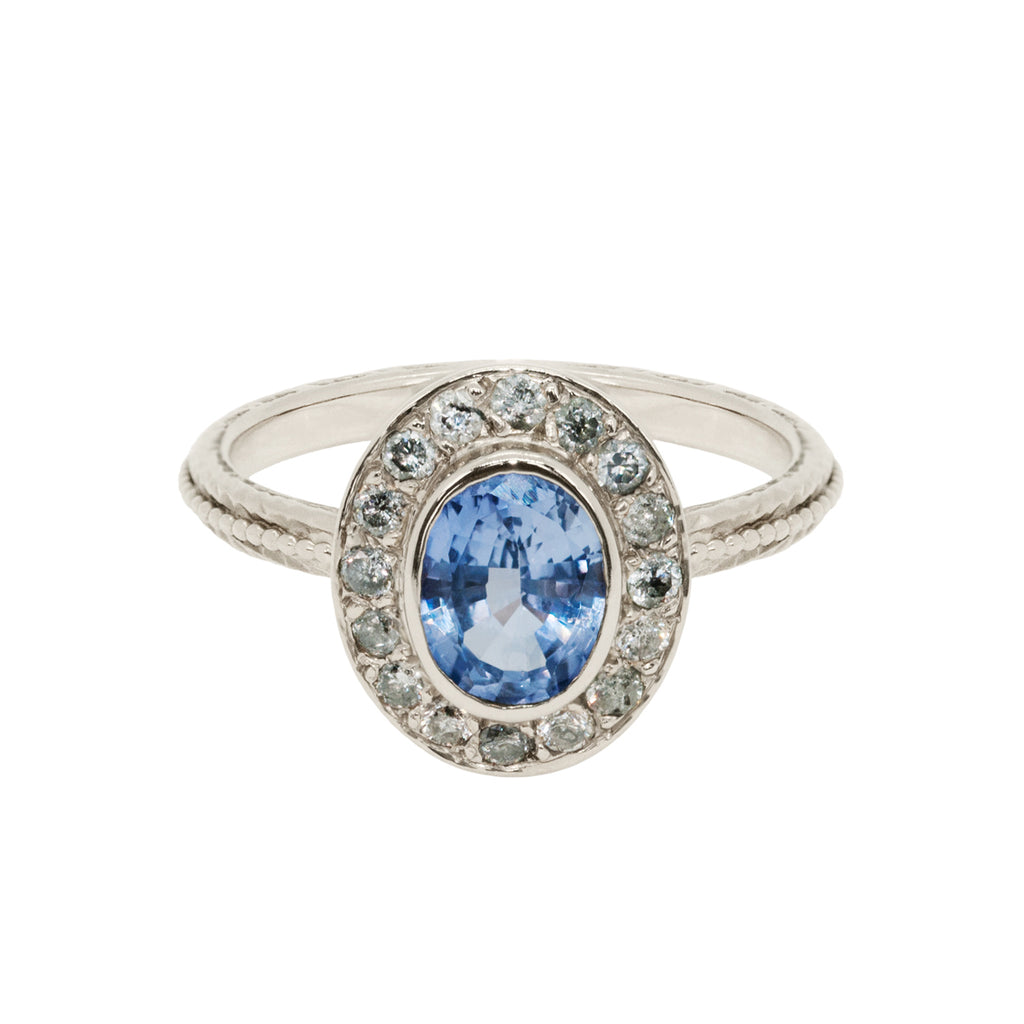 Sapphire Engagement Ring With Stardust Diamond Halo