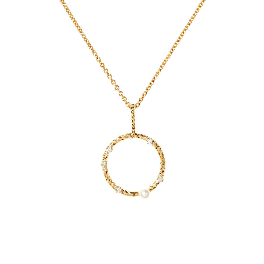 Star Gazer Diamond and White Pearl necklace in gold, featuring a beaded wire bale with sparkling diamond cut circle adorned with one Lunar White mini pearl and 5 baby white diamonds.