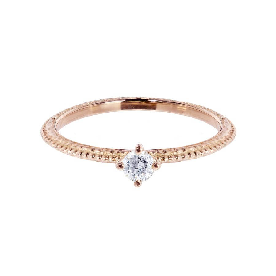 White diamond solitaire Tender Love engagement ring in 18 carat rose gold, featuring a delicate beaded band.