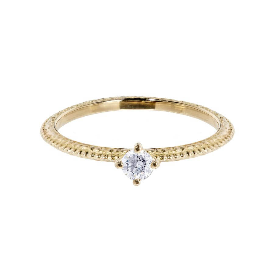 White diamond solitaire Tender Love engagement ring in 18 carat yellow gold, featuring a delicate beaded band.