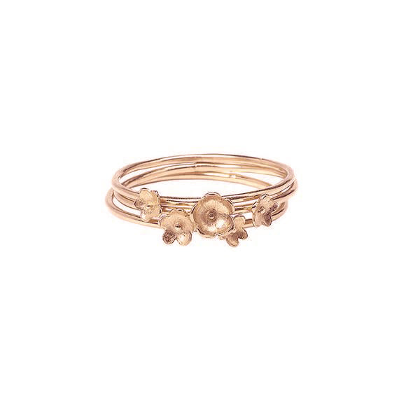 Summer Breeze Flower Stacking Rings - Rose Gold