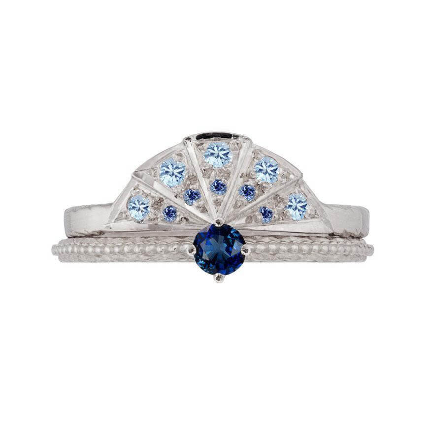 Tender Love Sapphire engagement ring with Sapphire Sunbeam