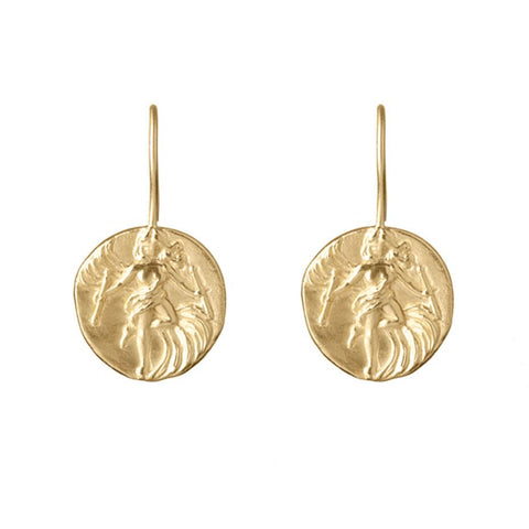 The Dancer earrings, inspired by the dancing lady found on The World tarot card.