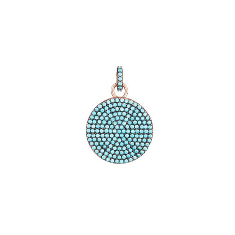 Turquoise Shield charm in rose gold, fashioned from a beautifully faceted turquoise paved shield.