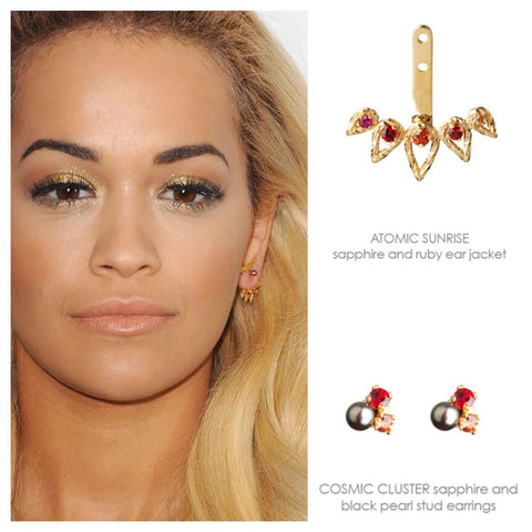 Rita Ora wears the Atomic Sunrise Ear Jacket paired with the Cosmic Cluster Stud earrings in gold.
