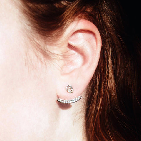Knot Stud Earrings and Beaded Ear Jacket - Silver