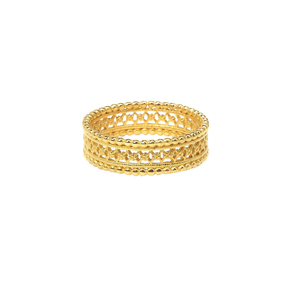 The Ancient ring in gold, featuring an intricate lace design.