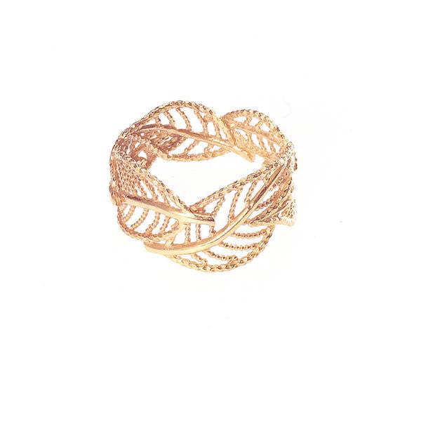 Wonderland Wrap Around Leaf Ring - Rose Gold