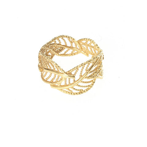 Wonderland Wrap Around Leaf ring in gold, featuring several leafs which wrap around your finger.
