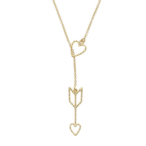 Arrow Of Love necklace, featuring a delicate and sparkling heart and arrow design.