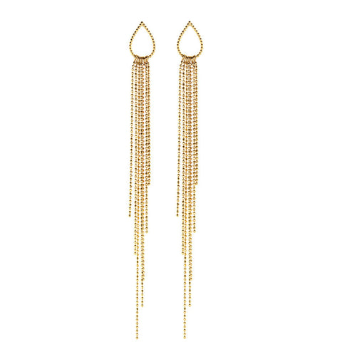 Dew Drop Waterfall earrings in gold, a shimmering show stopper whilst remaining elegant and sophisticated.