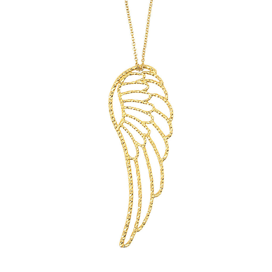 Long Angel Wing necklace in gold with our signature faceted texture.
