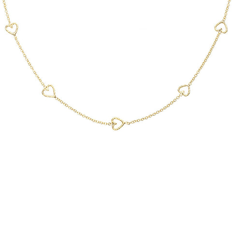 The Loop Of Love necklace in gold, featuring 5 tiny open hearts.