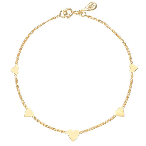 The Love-a-lot bracelet in gold, featuring five pretty mini hearts in graduating sizes.