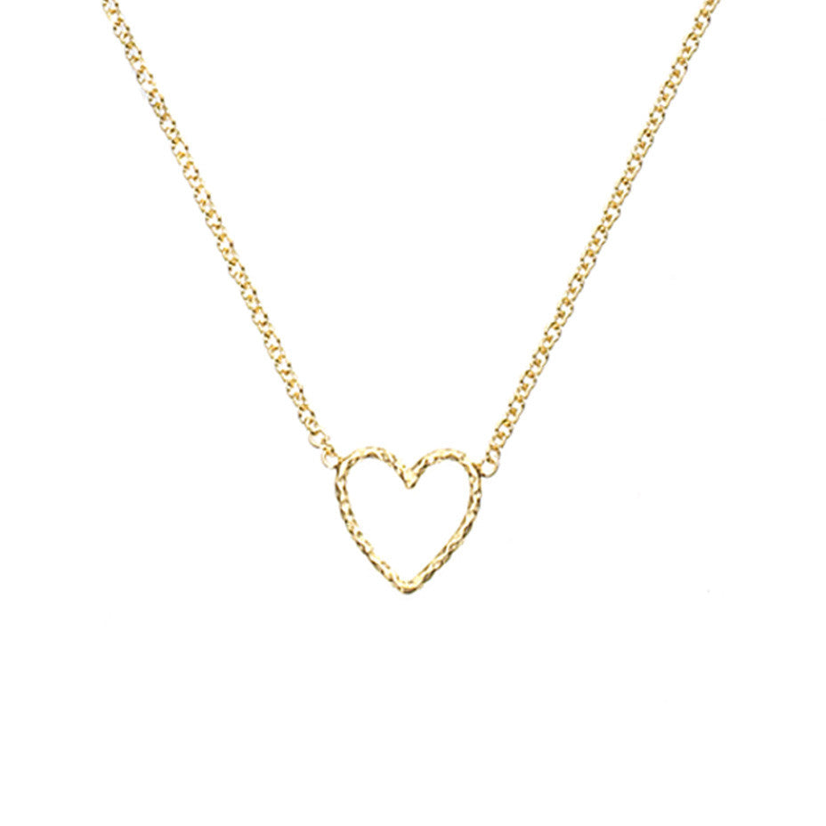 Love Me Tender Heart necklace in gold, featuring an adorable open heart.