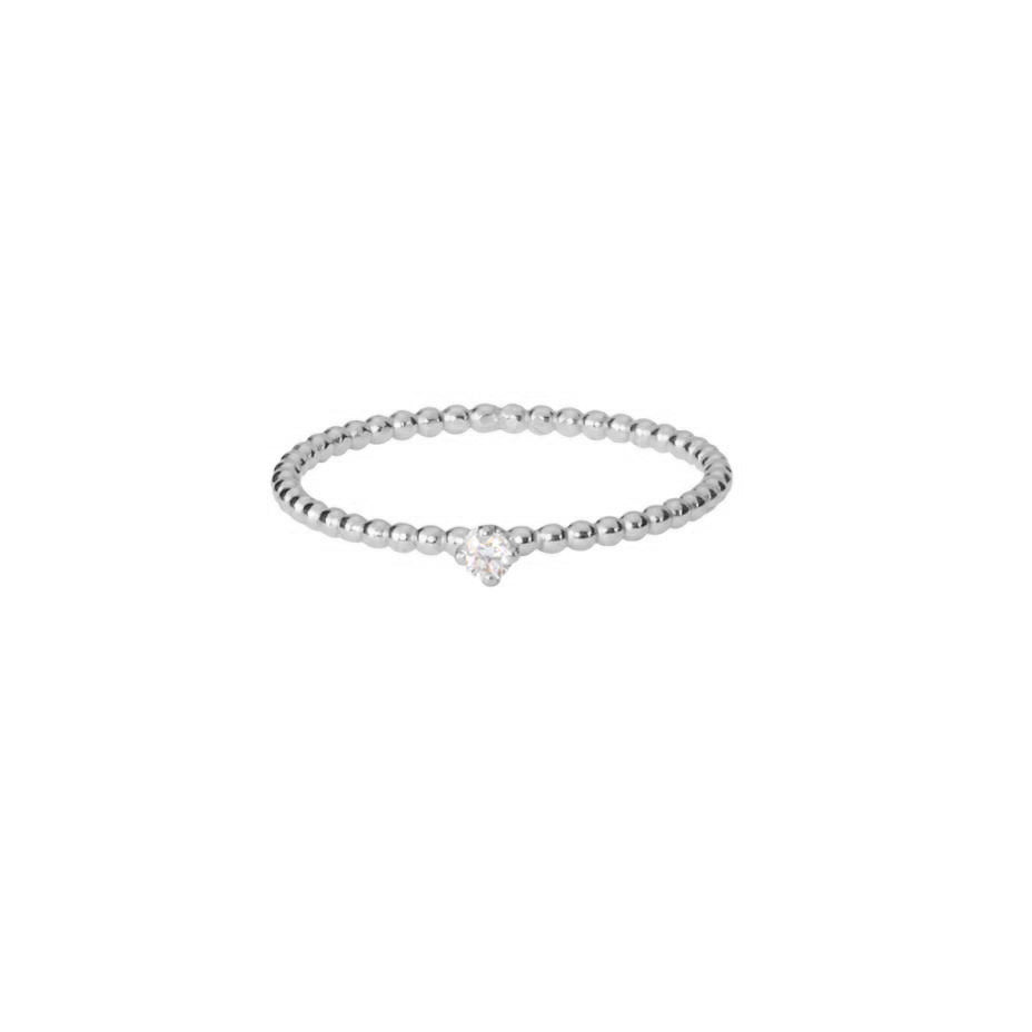 Lily White Diamond Ring - Silver