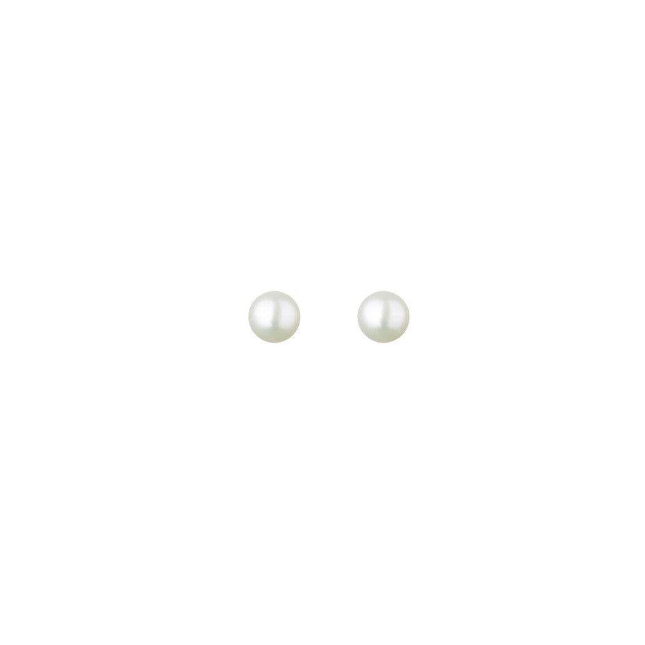 Lunar White Mini Pearl Stud earrings in gold, featuring beautiful mini freshwater pearls.