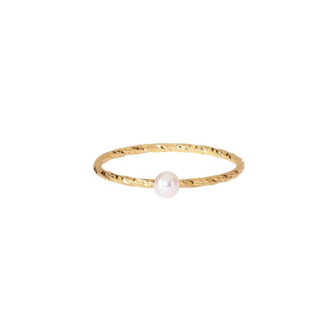 SALE Lunar White Mini Pearl Ring Sparkling Band - Gold
