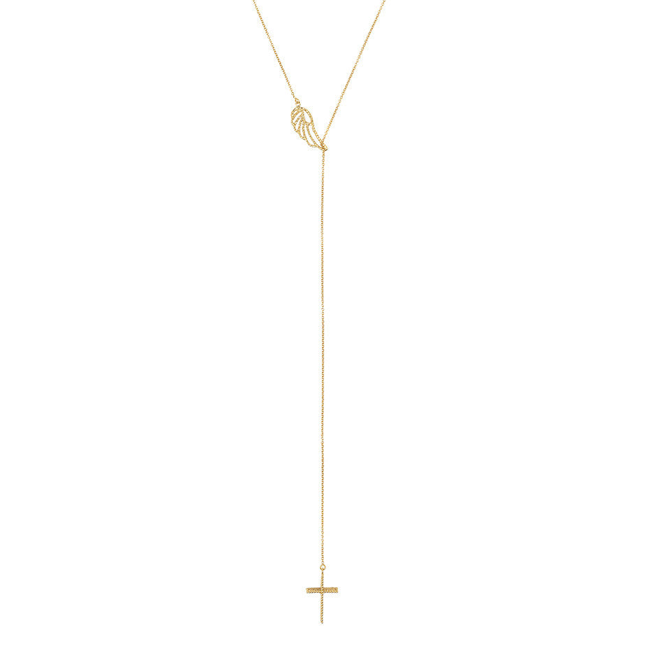 Angel Wing and Cross Lariat necklace in gold, featuring a 3-d lace effect cross hanging beneath a delicate angel wing. Lariat drop detail.