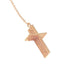Angel Wing and Lace Cross Lariat Necklace - Rose Gold