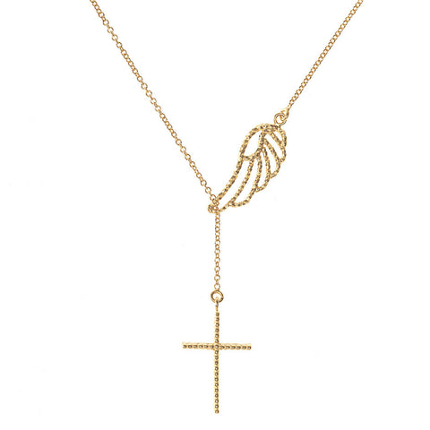 Angel Wing and Cross Lariat necklace in gold, featuring a 3-d lace effect cross hanging beneath a delicate angel wing.