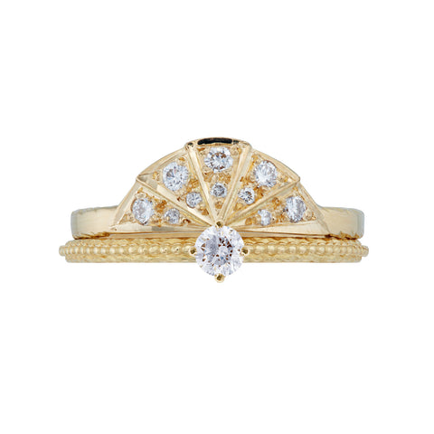 Diamond Sunbeam Ring and Tender Love Engagement Ring