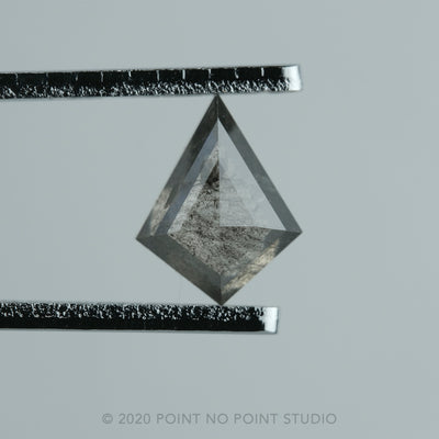 .83 ct Charcoal Grey and Black Speckled Rose Cut Diamond